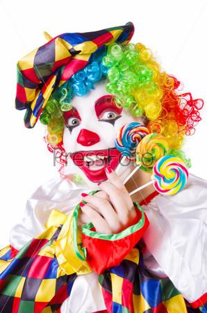 Фотография на тему Клоун с леденцом, изолированный на белом фоне
