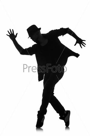 Силуэт танцора, изолированный на белом фоне