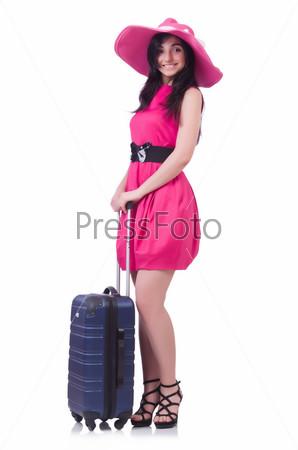 Фотография на тему Молодая девушка в розовом платье с чемоданом