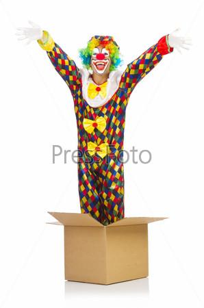 Фотография на тему Клоун выпрыгивает из коробки