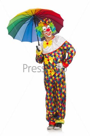 Фотография на тему Клоун с зонтиком, изолированный на белом фоне