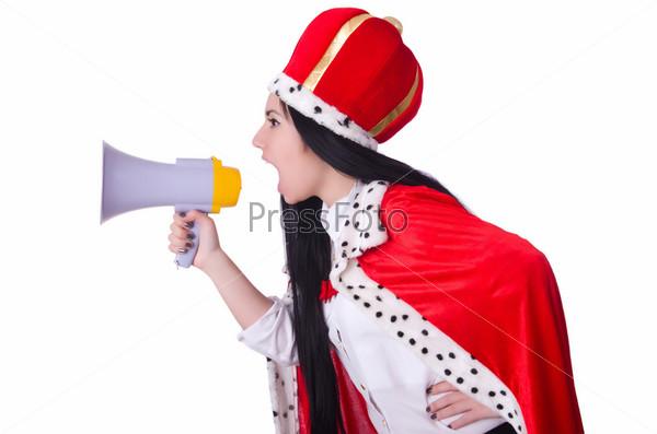 Королева с мегафоном, изолированная на белом фоне