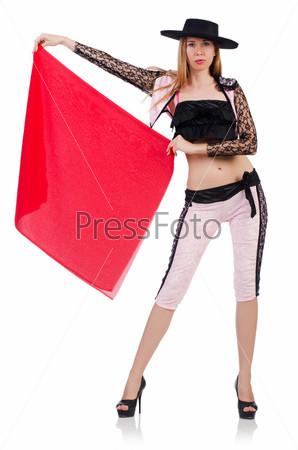Фотография на тему Женщина тореадор, изолированная на белом фоне