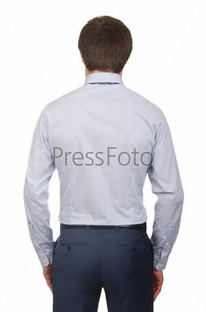 Модель в рубашке, изолировано на белом фоне