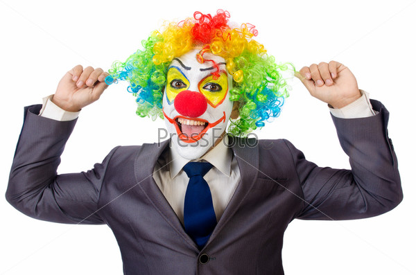 Фотография на тему Бизнесмен-клоун, изолированный на белом фоне