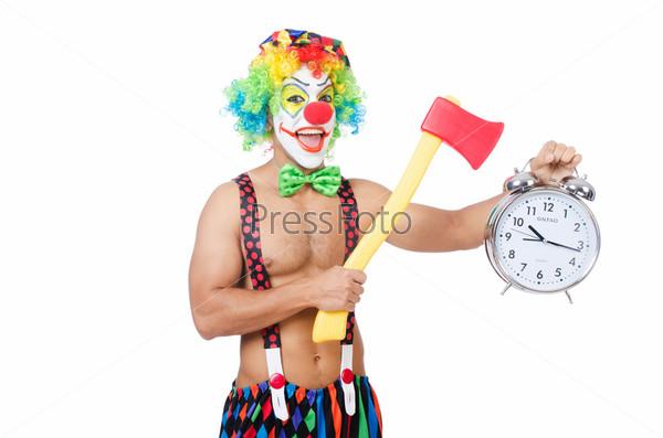 Клоун с часами и топором на белом фоне