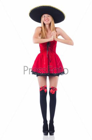 Женщина в сомбреро и красном платье