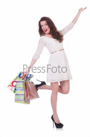 Фотография на тему Высокая девушка после хорошего шопинга на белом фоне
