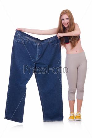 Концепция диеты с большими джинсами