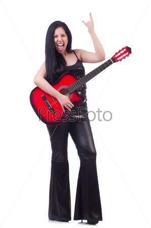 Фотография на тему Женщина с гитарой, изолированная на белом