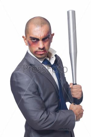 Избитый бизнесмен с битой на белом фоне