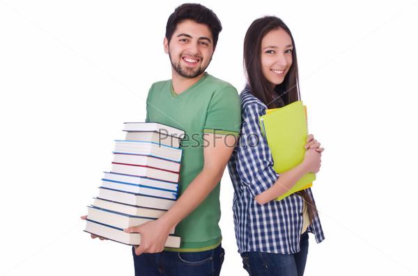 Фотография на тему Студенты с книгами, изолированные на белом фоне