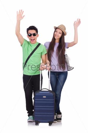 Студенты готовы к поездке на белом фоне