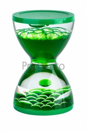 """Фотография на тему Гелевые """"песочные"""" часы зеленого цвета на белом фоне"""