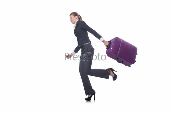 Бизнес-леди путешествует, изолировано на белом
