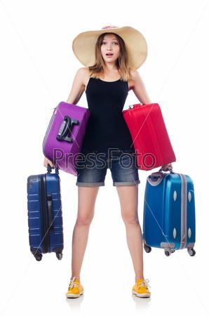 Фотография на тему Молодая девушка путешествует, изолировано на белом фоне