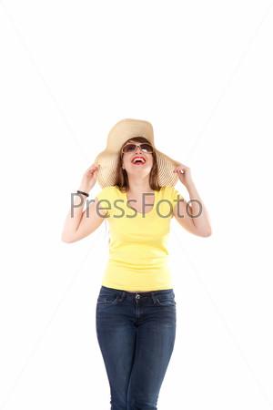 Фотография на тему Портрет девушки в соломенной шляпе