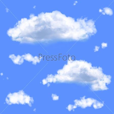 Фотография на тему Бесшовный фон с белыми облаками