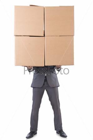Фотография на тему Бизнесмен с коробками, изолированный на белом