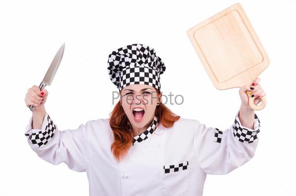 Женщина-повар, изолированная на белом фоне
