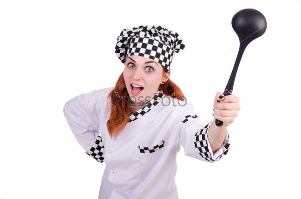 Фотография на тему Женщина-повар, изолированная на белом фоне