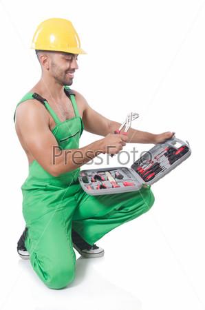 Мужчина с инструментами, изолированный на белом фоне