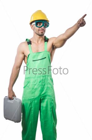 Фотография на тему Мужчина с инструментами, изолированный на белом фоне