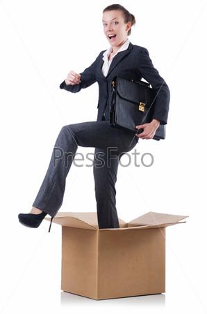 Фотография на тему Бизнес-леди с коробками на белом фоне