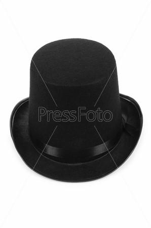Черная шляпа-цилиндр, изолированная на белом фоне