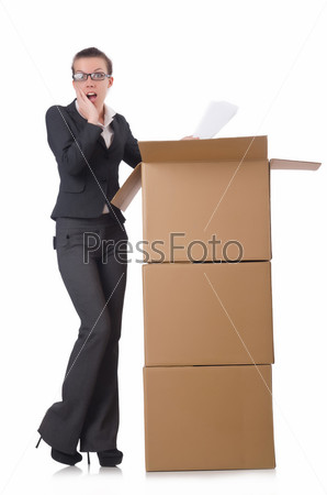 Фотография на тему Деловая женщина с коробками на белом фоне