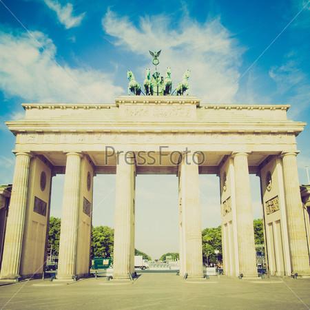 Винтажная фотография Бранденбургских ворот в Берлине, Германия