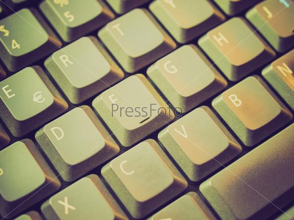 Винтажная фотография фрагмента клавиатуры компьютера