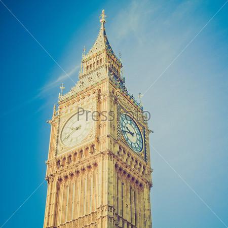 Винтежная фотография Биг Бена, Вестминстерский дворец. Лондонская готическая архитектура