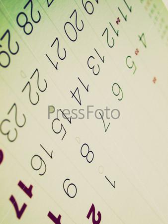 Фотография на тему Страница календаря с датами