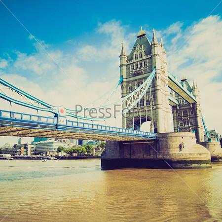 Винтажная фотография Тауэрского моста на реке Темза, Лондон, Великобритания