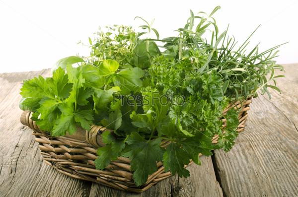 Садовая зелень в плетеной корзине