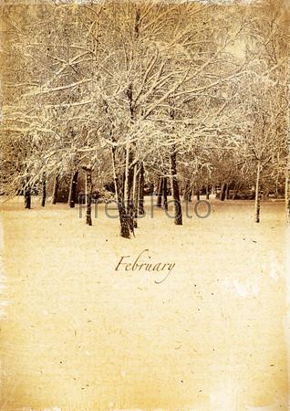 Календарь в стиле ретро. Февраль. Старинный зимний пейзаж