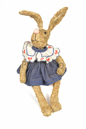 Соломенный кролик ручной работы