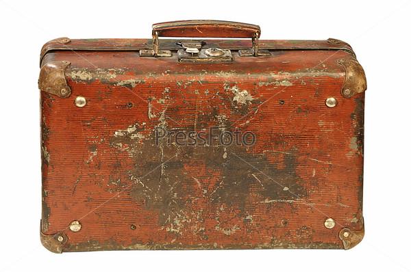 Фотография на тему Старый чемодан на белом фоне
