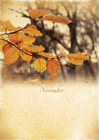 Фотография на тему Календарь в стиле ретро. Ноябрь. Винтажный осенний пейзаж