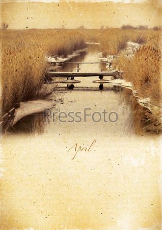 Фотография на тему Календарь в стиле ретро. Апрель. Винтажный весенний пейзаж