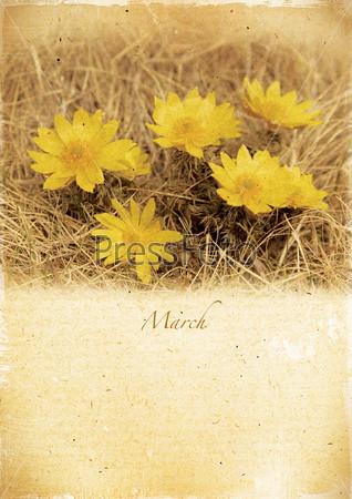 Календарь в стиле ретро. Март. Винтажный весенний пейзаж