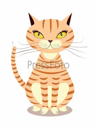 Нарисованный рыжий кот