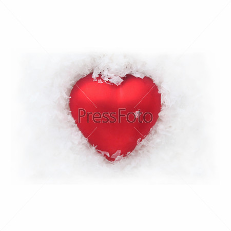 Red heart in the snow - white background