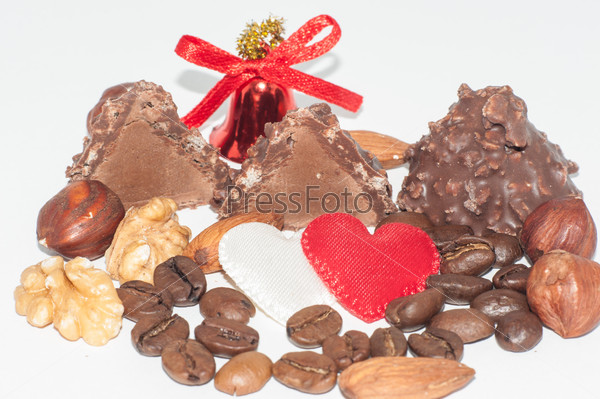 Heart chocolate candy on Valentines day.