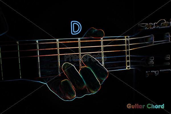 Guitar chord on a dark background