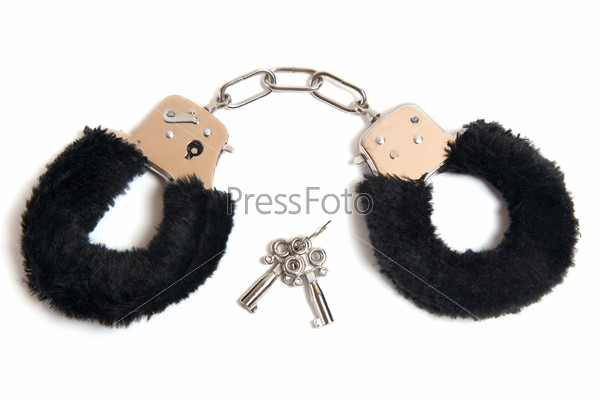 Black fur handcuffs with a key