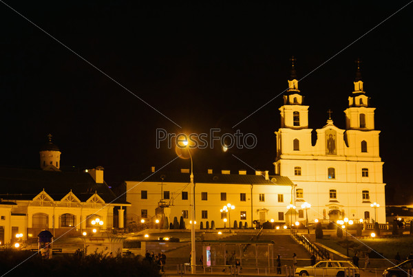 Cathedral of Holy Spirit at night in Minsk, Belarus