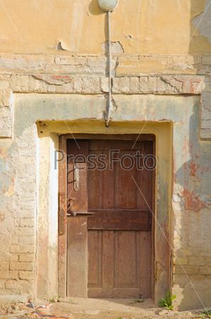 Old wooden door frame