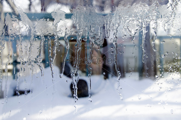 The ice on the glass